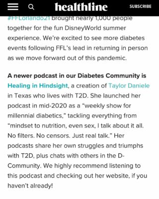 Honored to be mentioned by @diabetesminenews from the @healthline family. ⠀ Be sure to check out the article (link in bio) for all the amazing people and organizations mentioned. ⠀ I'm so happy to see our community continue to connect and support each other. ⠀ 🙏🏽🖤 ⠀ ⠀  #diabetes #diabeticcommunity #diabeteslife #diagnosednotdefeated #healthandwellnesspodcast #healinginhindsight